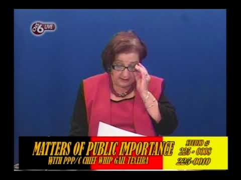 Matters of Public Importance with PPP/C Chief Whip Gail Teixeira February 15th 2018