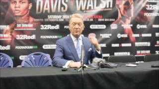 FRANK WARREN; Discusses Liam Walsh v Gervonta Davis at post fight presser.