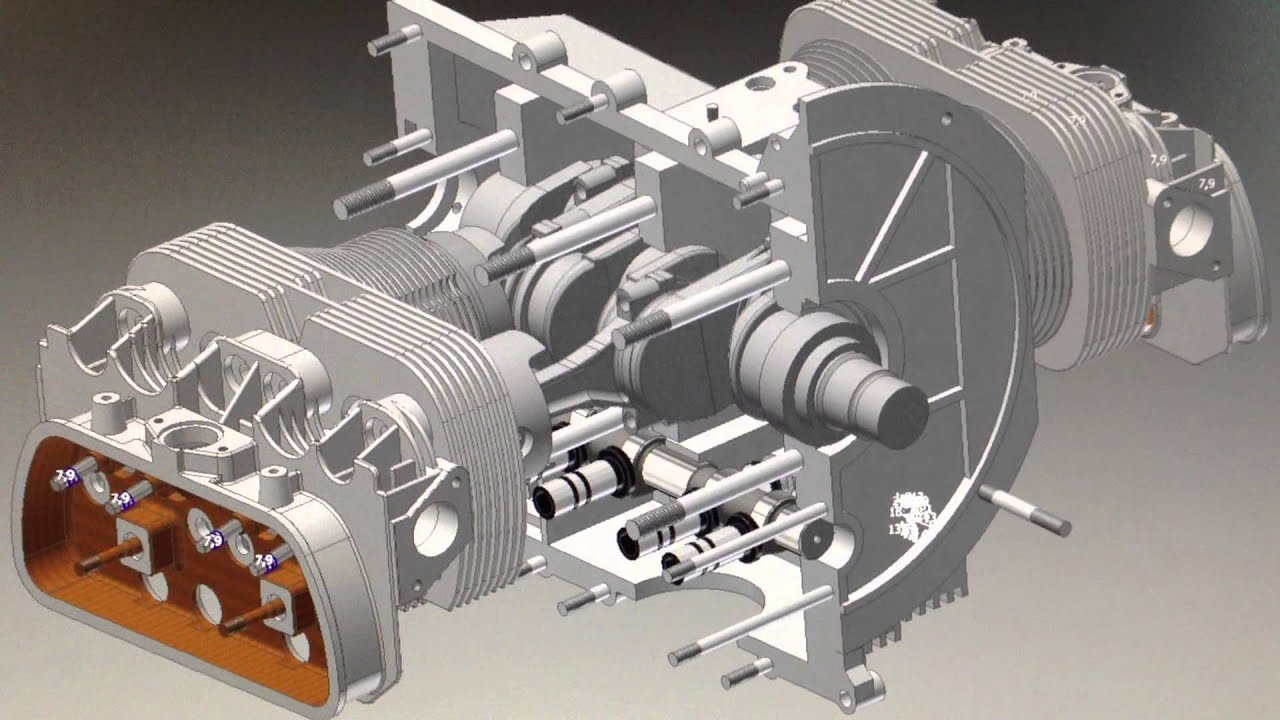 3d Cad Animation Vw Boxer Motor Youtube