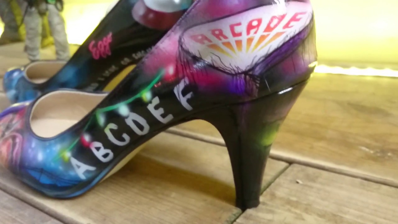 bae2cd4d422a Stranger Things custom painted shoes - YouTube