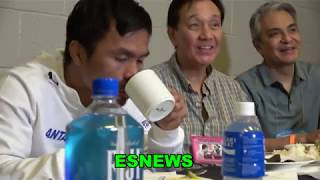 Manny Pacquiao Meal After Thurman Weigh In Meat Soup Rice Eggs Water EsNews Boxing