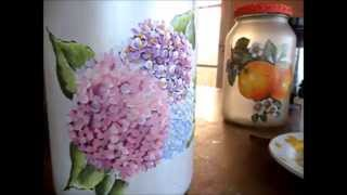 Pintando no vidro – Parte 2/3 – Hortênsias – Painting on the glass – Part 2/3