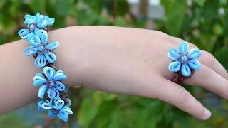 Bracelet et bague élastique avec fleur