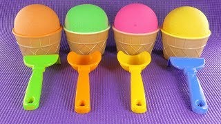 Animals for Kids | Learn Colors with Kinetic Sand Ice Cream surprise toys | Learn Animals Names
