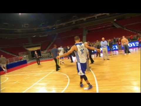 Stephen Curry Trick Shot - Hits a 3/4 Court Shot in Beijing!