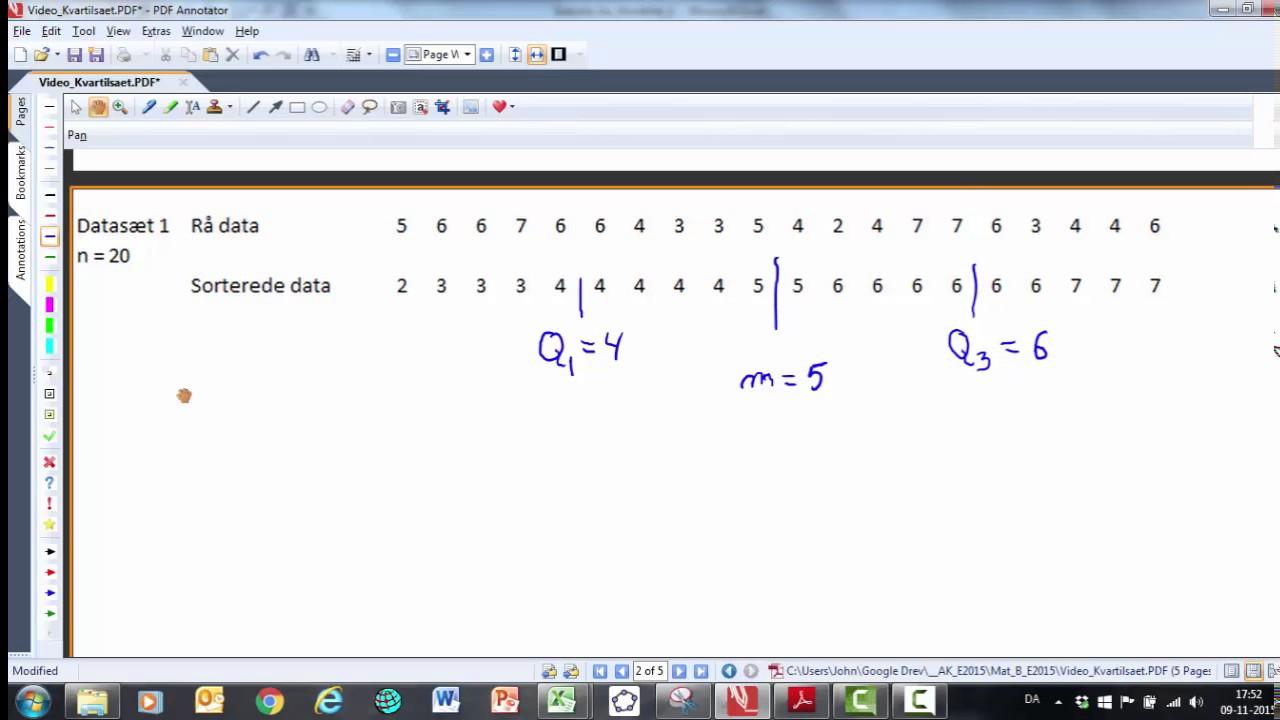 Kvartilsaet med formelsamlingens metode