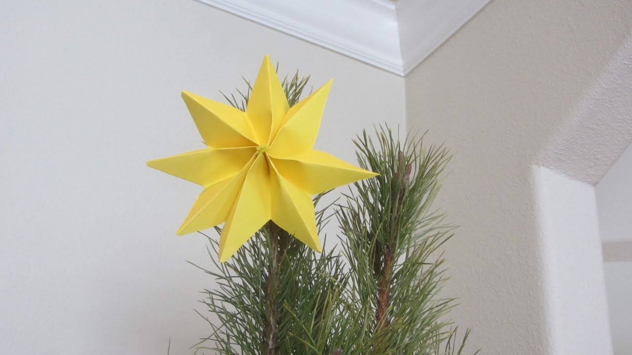 How To Fold A Christmas Tree Topper Yellow Star Paper Art Origami  - Make A Christmas Star Tree Topper