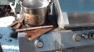 Maple syrup making with the BBQ