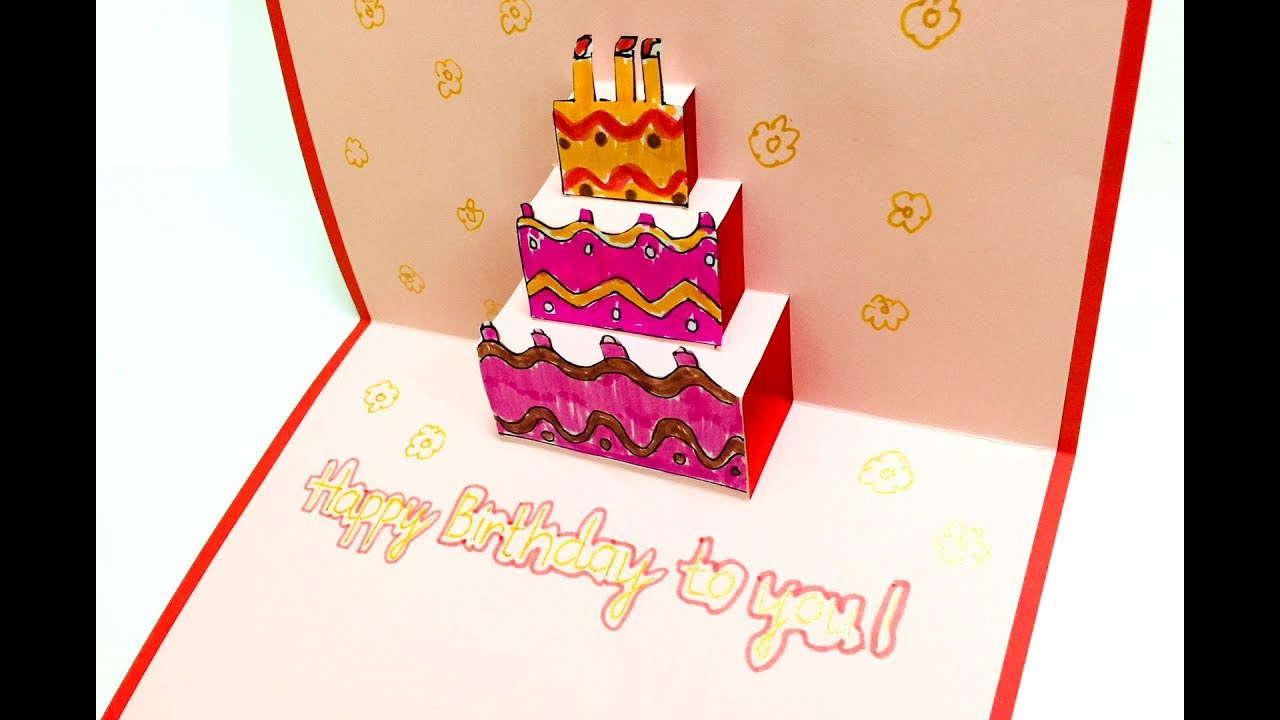 Hướng dẫn làm thiệp 3d hình bánh kem tặng sinh nhật | Dạy bé học