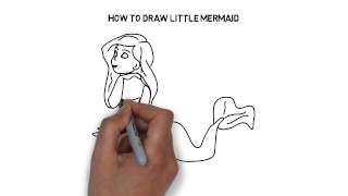 How to draw Little Mermaid