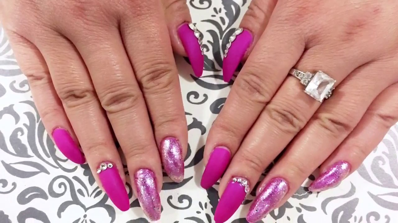 Valentines Nail Design Matte Fuchsia And Glittery Design Youtube