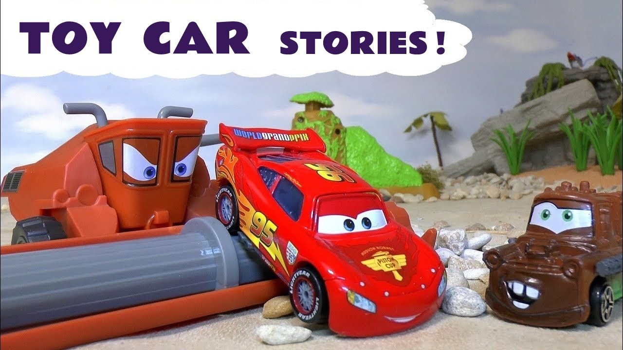 disney cars toys mcqueen family fun toy stories with thomas and friends hot wheels and a shark youtube