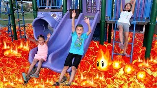 THE FLOOR IS LAVA CHALLENGE! Family Fun Kids Pretend Playtime