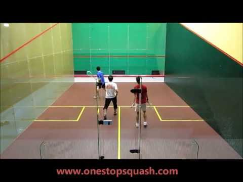 Squash drills: Boast-crosscourt-straight (3 players rotation) (Backhand front)