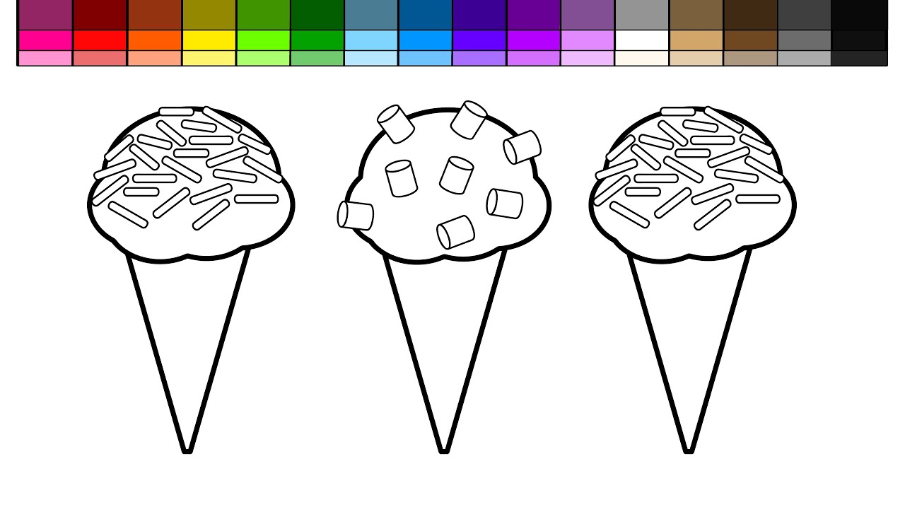 Coloring pictures of ice cream cones - Learn Colors For Kids And Color Sprinkle And Marshmallow Ice Cream Cones Coloring Pages