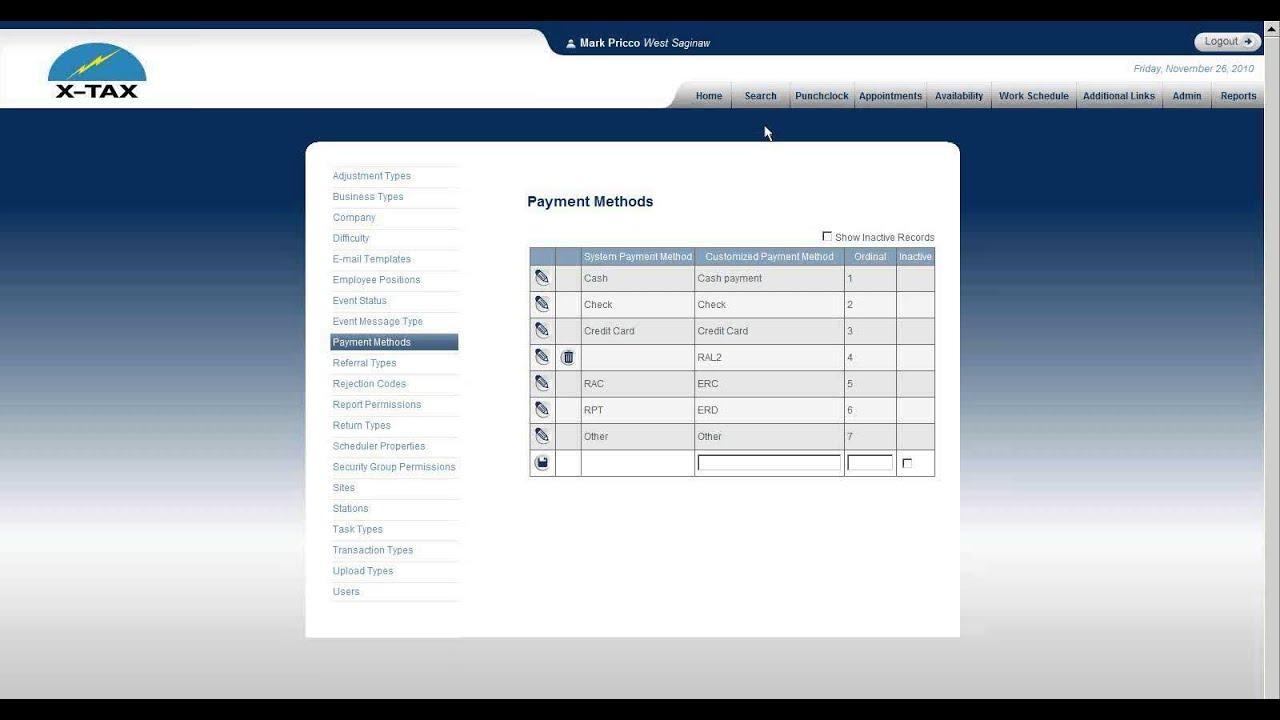 ATOM Admin Setup - Payment Methods