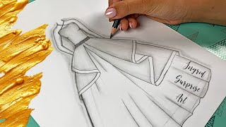 How to draw a dress easy for beginners / Pencil Dress Sketch / Ingrid Surprise Art