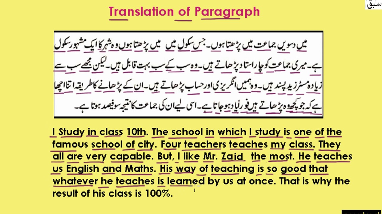 Translation of Paragraph (Urdu to English) part-1