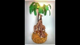 """Фоамиран! Презентация МК """"Семья жирафов"""" светильник из фома"""