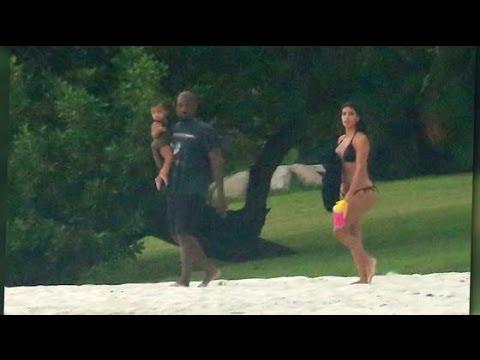 Kim Kardashian and Kanye West's Loving Family Beach Pics   Splash News TV   Splash News TV