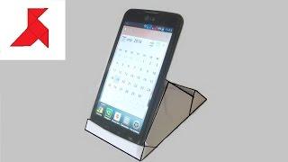 Как сделать вертикальную подставку для мобильного телефона из бумаги формата А4?(Самодельная подставка для фиксации исключительно в вертикальной позиции мобильного телефона, сделанная..., 2016-07-04T22:44:21.000Z)