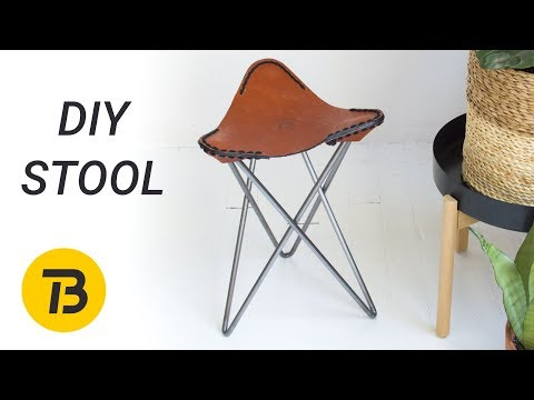 DIY Leather and Steel Hairpin Leg Stool