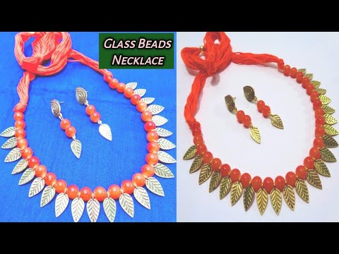 How to Make Antique Glass Beads Necklace with Earrings - Handmade Fashion Jewellery Making Idea