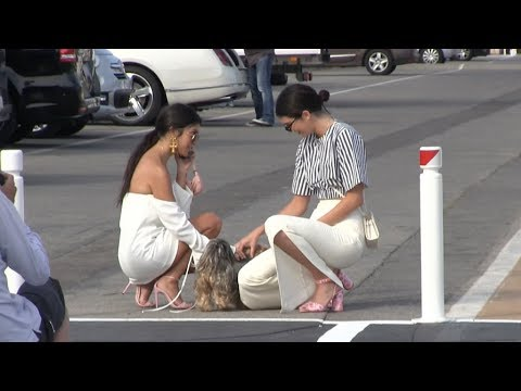 EXCLUSIVE - Kendall Jenner and Kourtney Kardashian arrives at Port Canto in Cannes