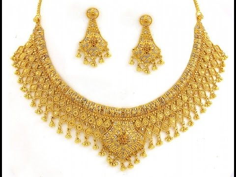 Wedding Bridal Broad Gold Necklace Designs real gold necklace