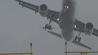 Crosswind landing crazy Go around Air France Crazy aborts 3 times Due Windshear