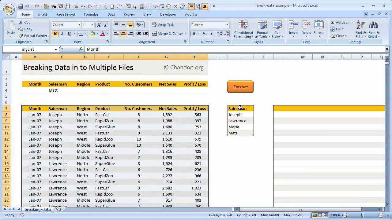 Break Data in to Multiple Excel Files - How to Video