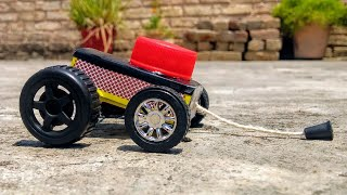 how To Make Match Box Rope Pulling Car At Home