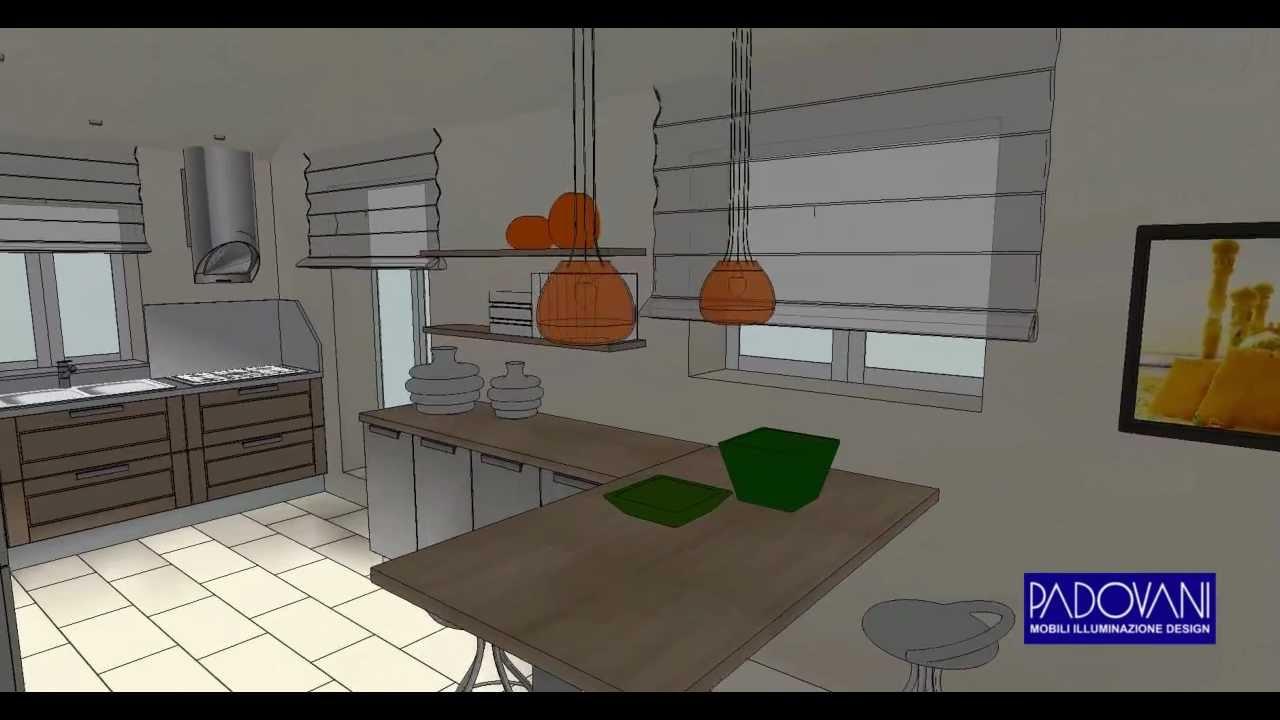 """Video 3D progetto di arredamento cucina """"toni caldi"""" - YouTube"""