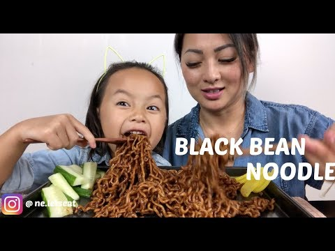 BLACK BEAN NOODLES | MUKBANG | N.E Let's Eat
