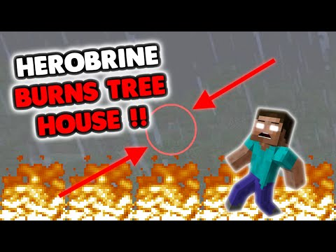 MEAN HEROBRINE DESTROYS TREE HOUSE!?! :( [XBOX SIGHTING]