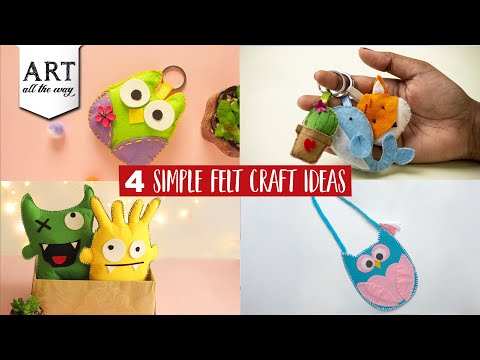 4 Simple Felt craft Ideas | Gifts for her | Felt compilation