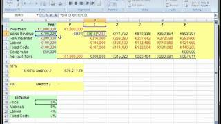 long term project apraisal with inflation npv irr in excel
