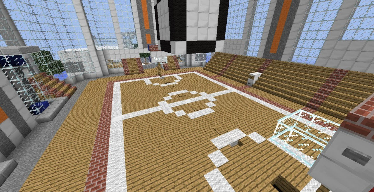 Minecraft tutorial how to build a basketball court youtube for Build indoor basketball court