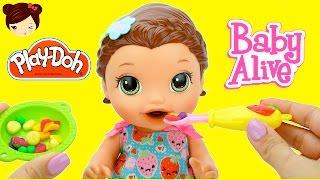 Baby Alive Muñeca Come Comidita de PLAY DOH - Snackin Lily Comiditas Divertidas thumbnail