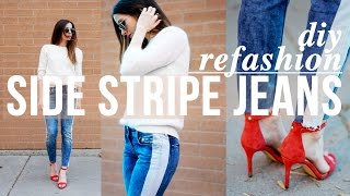 10 minute DIY side stripe jeans refashion - take out your pants