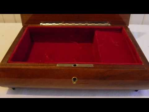 Vintage Marquetry Jewelry Music Box Italy