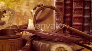 Vintage Still Life on an Old Map in 1565. | Stock Footage - Videohive