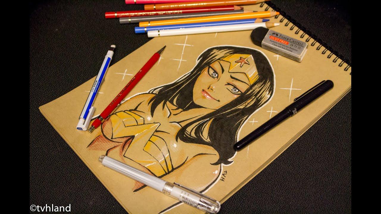 Dessiner Wonder Woman Sur Papier Kraft Youtube
