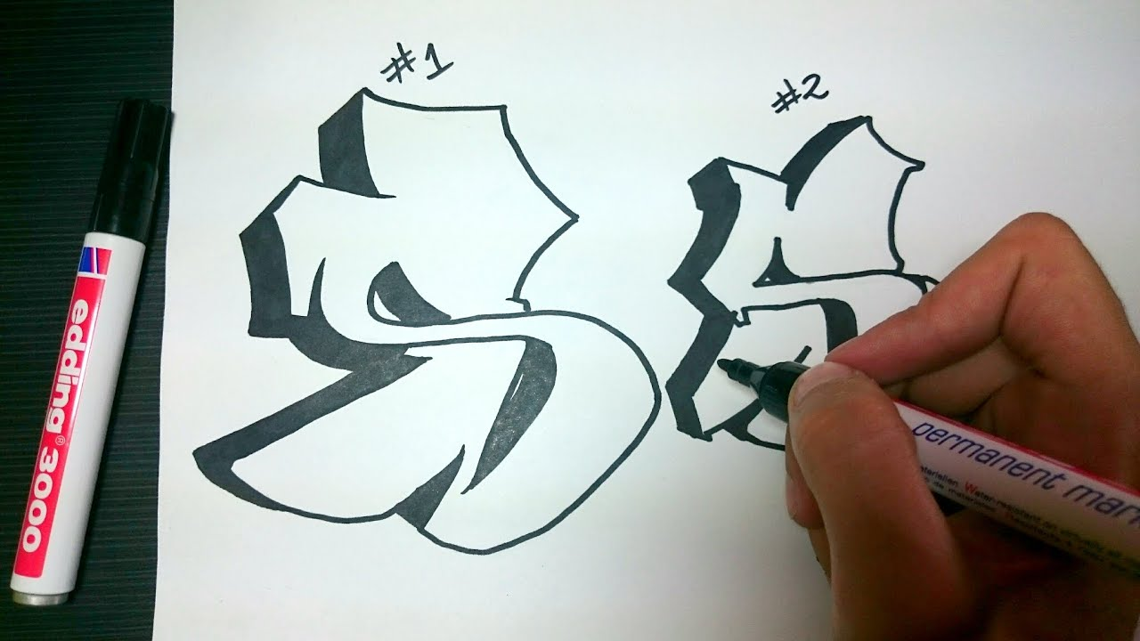 How to draw graffiti on paper with a pencil 48