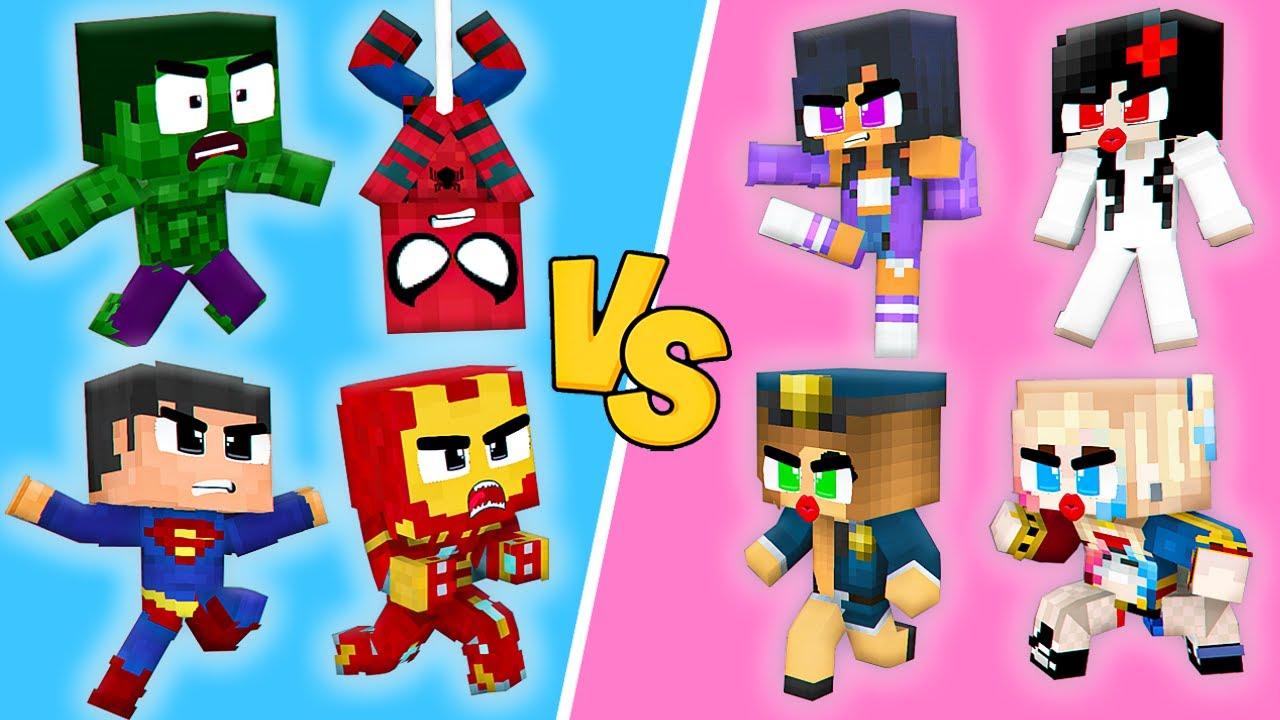 Monster School : Baby SUPERHEROES Boys Hulk Ironman LOVE CURSE Zombie Girls - Minecraft Animation