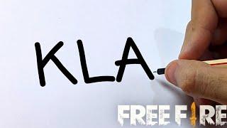 COMO TRANSFORMAR A PALAVRA KLA EM DESENHO - Drawing KLA FF from the word Kla // Gambar Free Fire