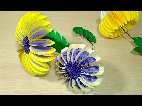 Easy BIG Paper flower. Circles in origami style! Origami flower for Easter decorations.