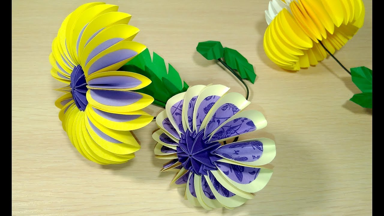 Easy Big Paper Flower Circles In Origami Style Origami Flower For Easter Decorations