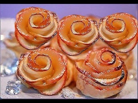 Розочки из слоёного теста с яблоком