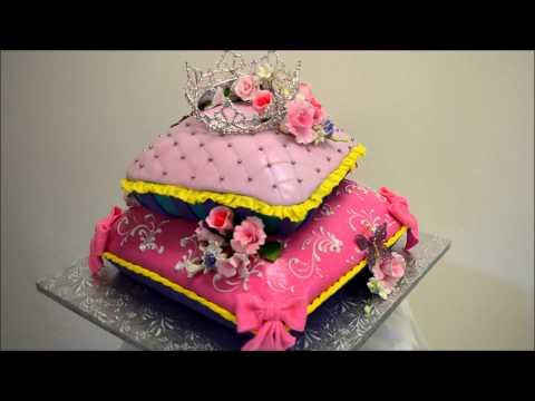 Baby princess theme pillow cake - Fondant icing cake ideas